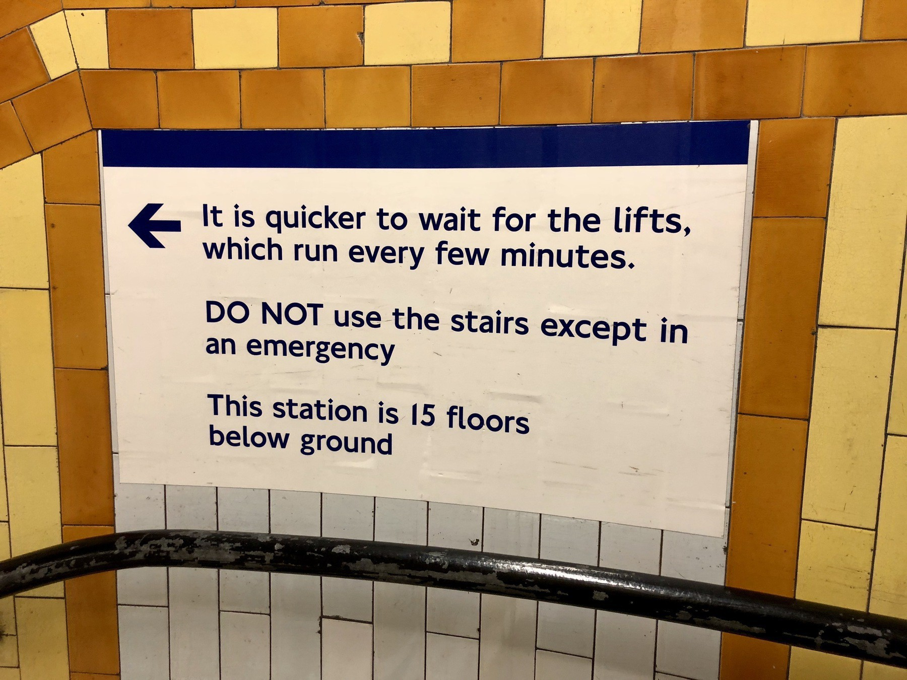 Warning sign for the London tube